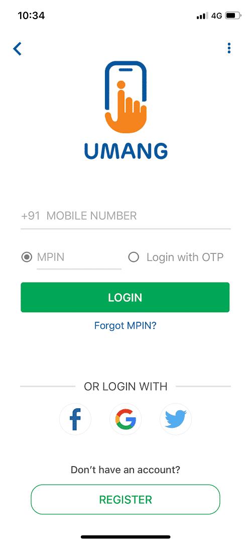 Login in the Umang App