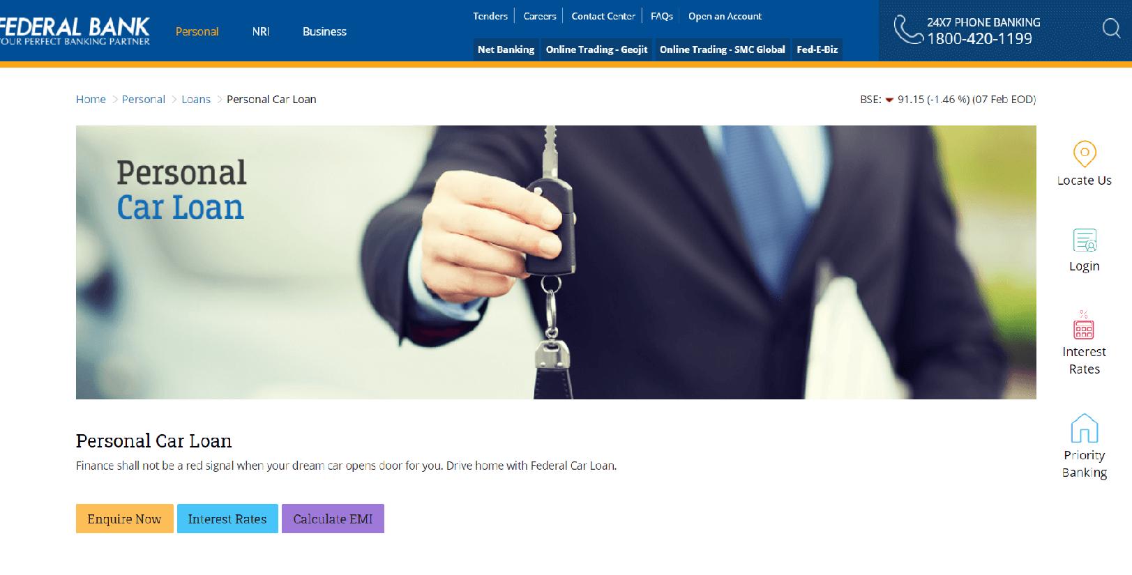 Federal Bank Car Loan