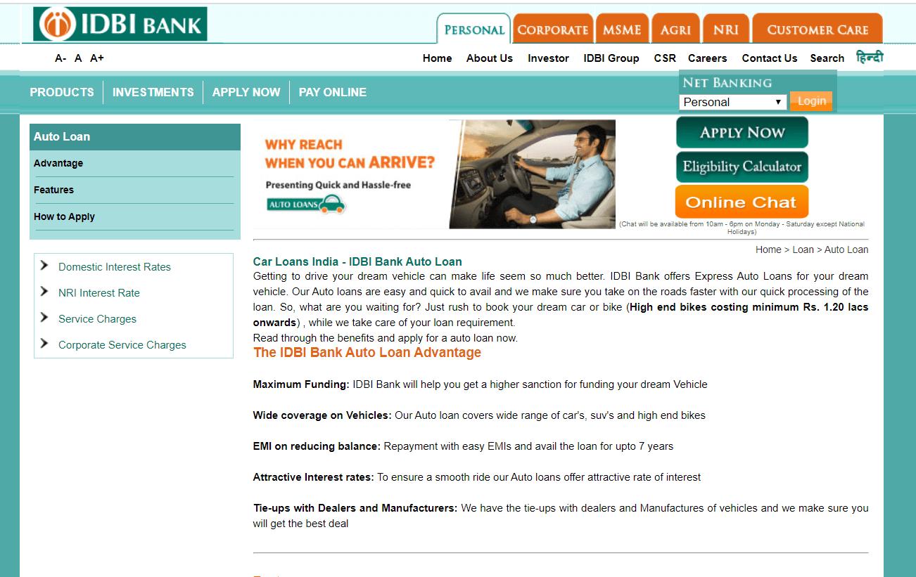 IDBI Band Car Loan