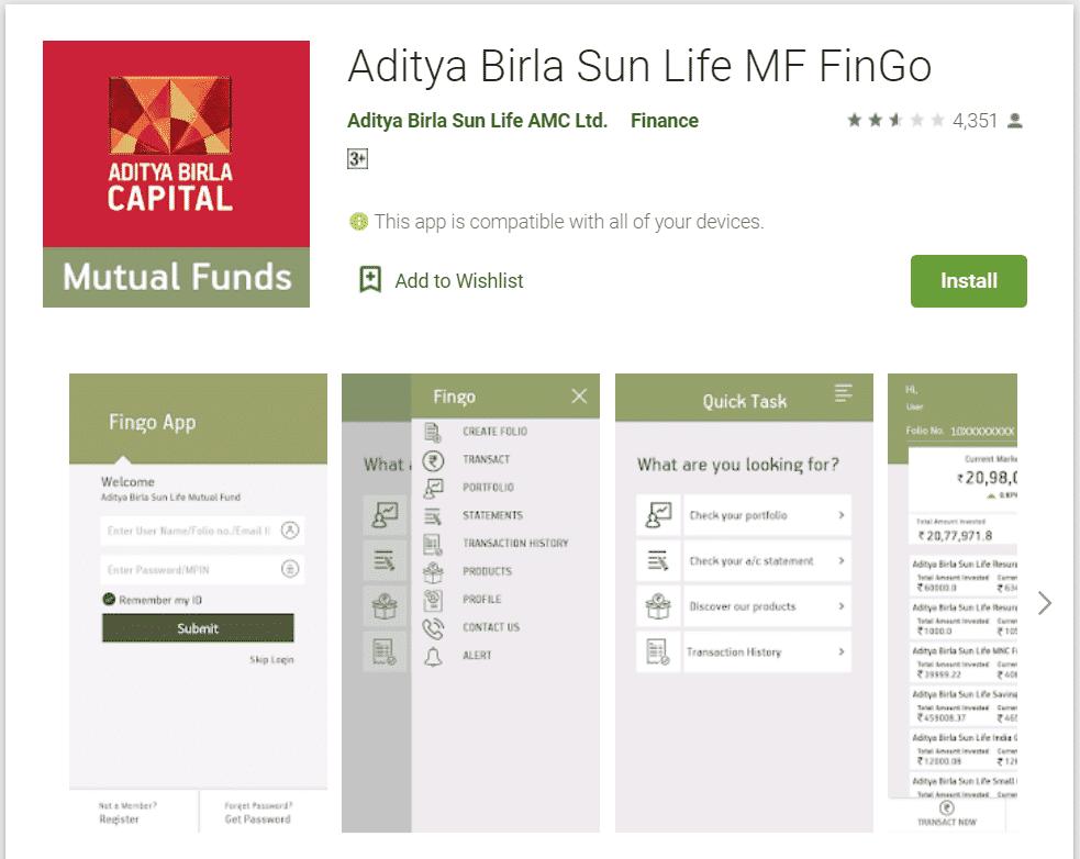 FinGo app by Aditya Birla SunLife Mutual Funds