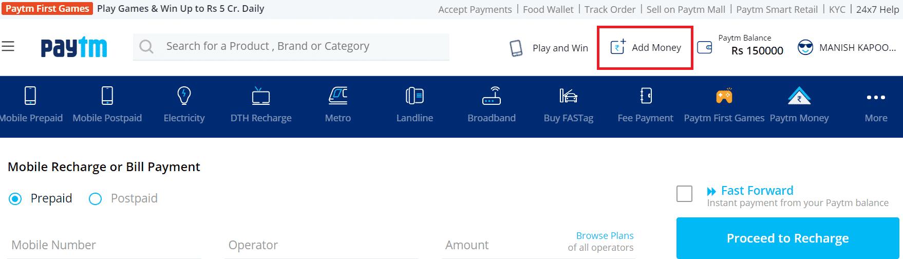 paytm wallet or add money icon