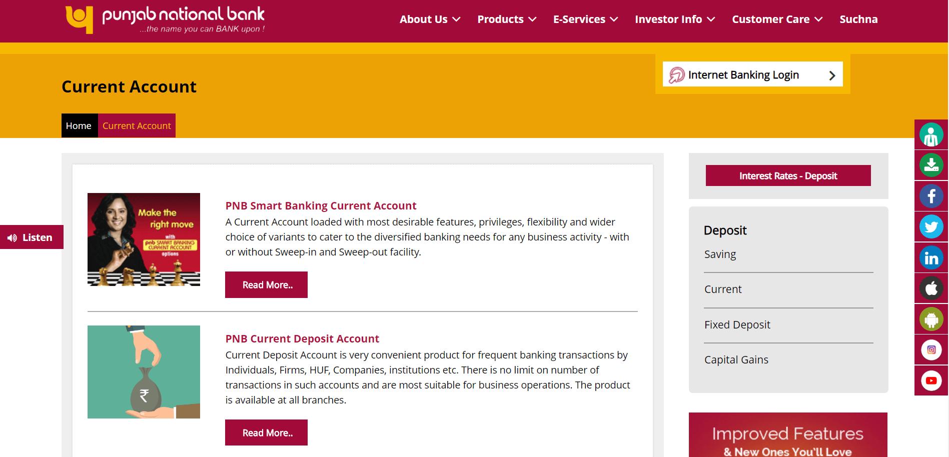punjab national bank current account
