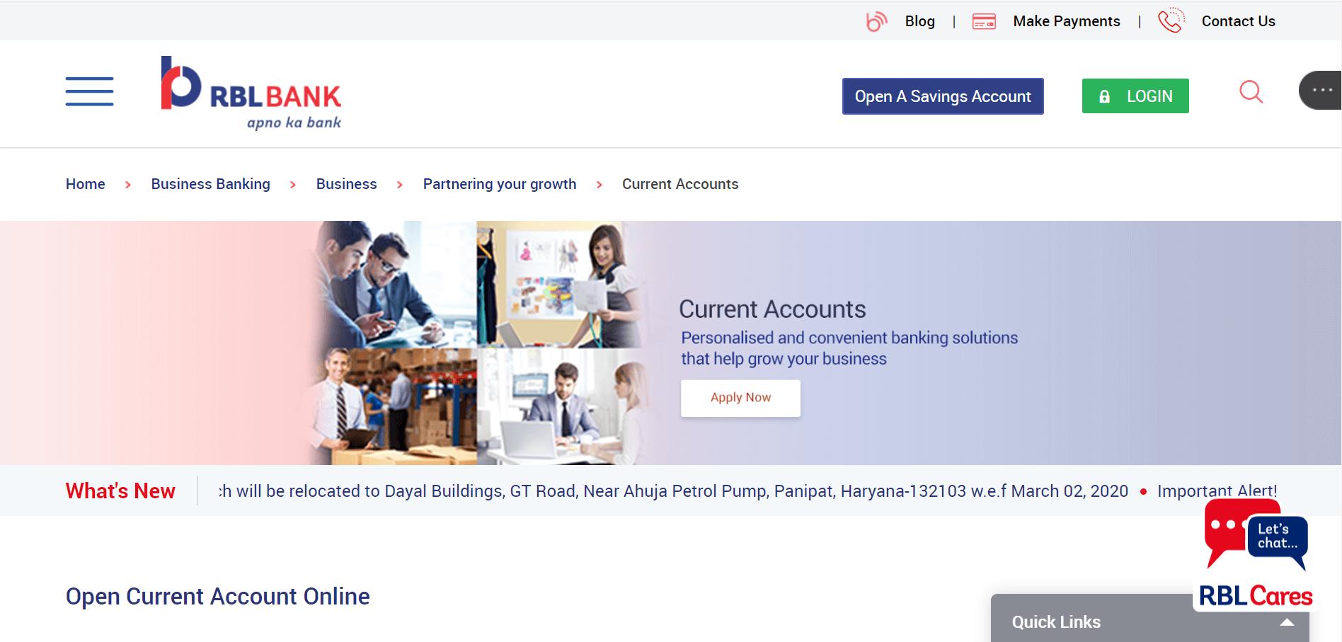rbl bank current account