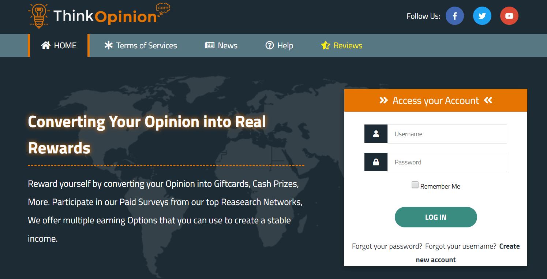ThinkOpinion   Legit Paid Survey Sites to Make Money