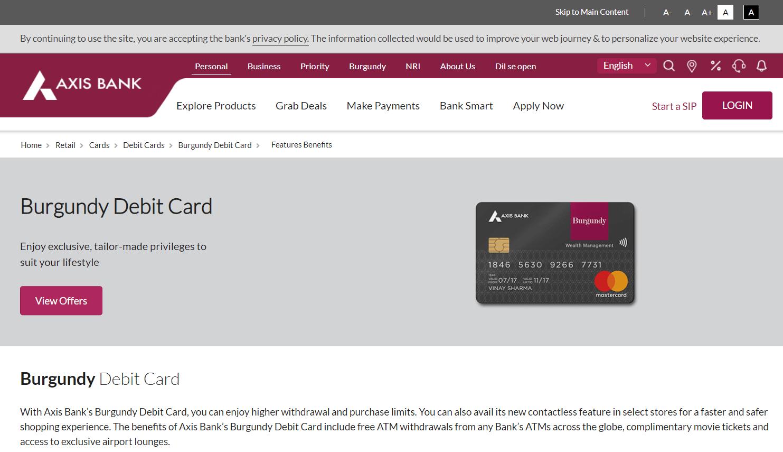 Axis Bank Burgundy Debit Card