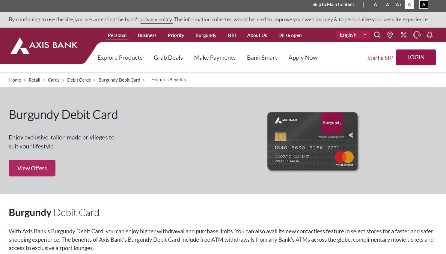 Axis Burgundy World Debit Card