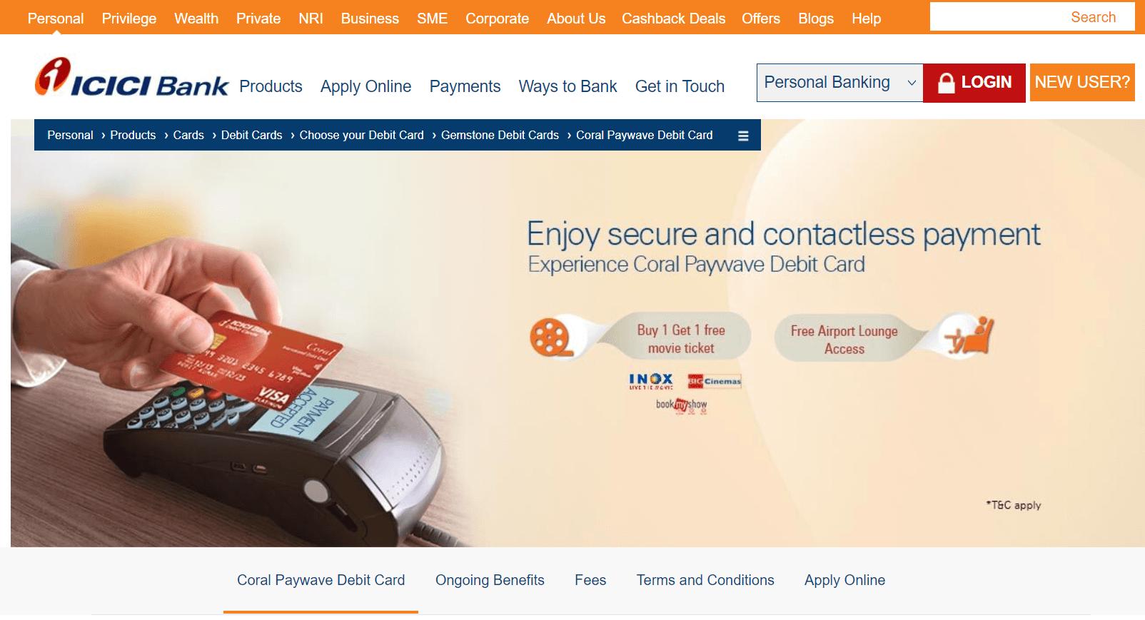 ICICI Bank Coral Debit Card