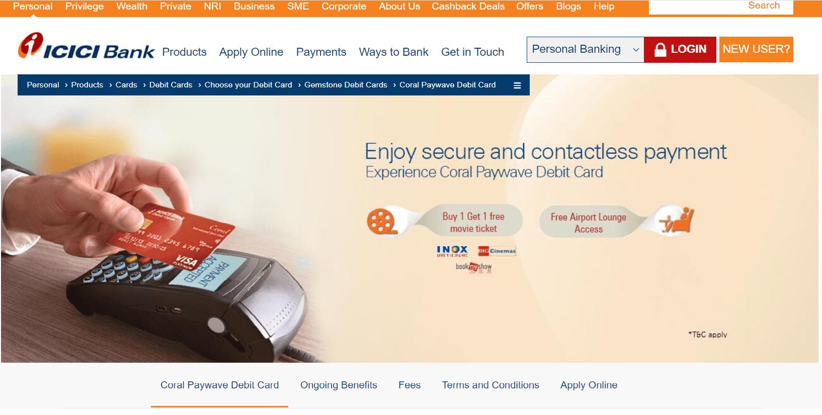 ICICI Bank Coral Paywave International Debit Card