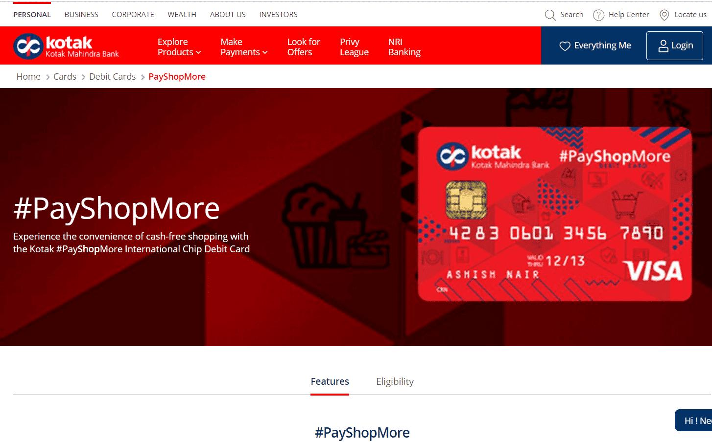 Kotak Bank PayShopMore International Chip Debit Card