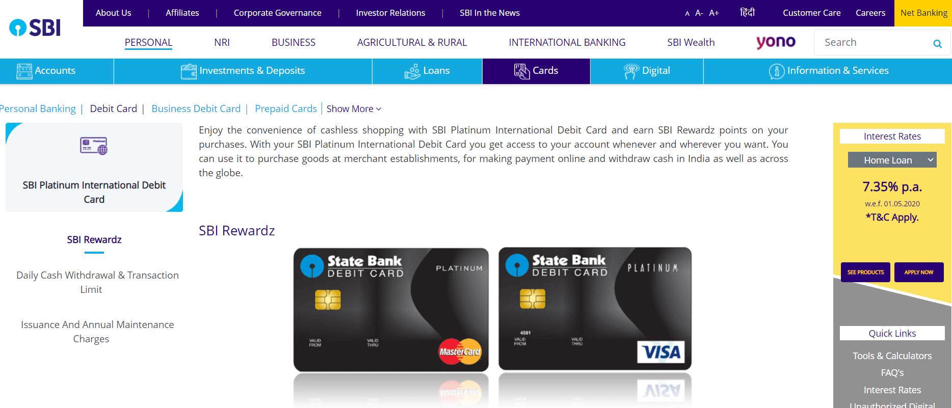 SBI Platinum Debit Card