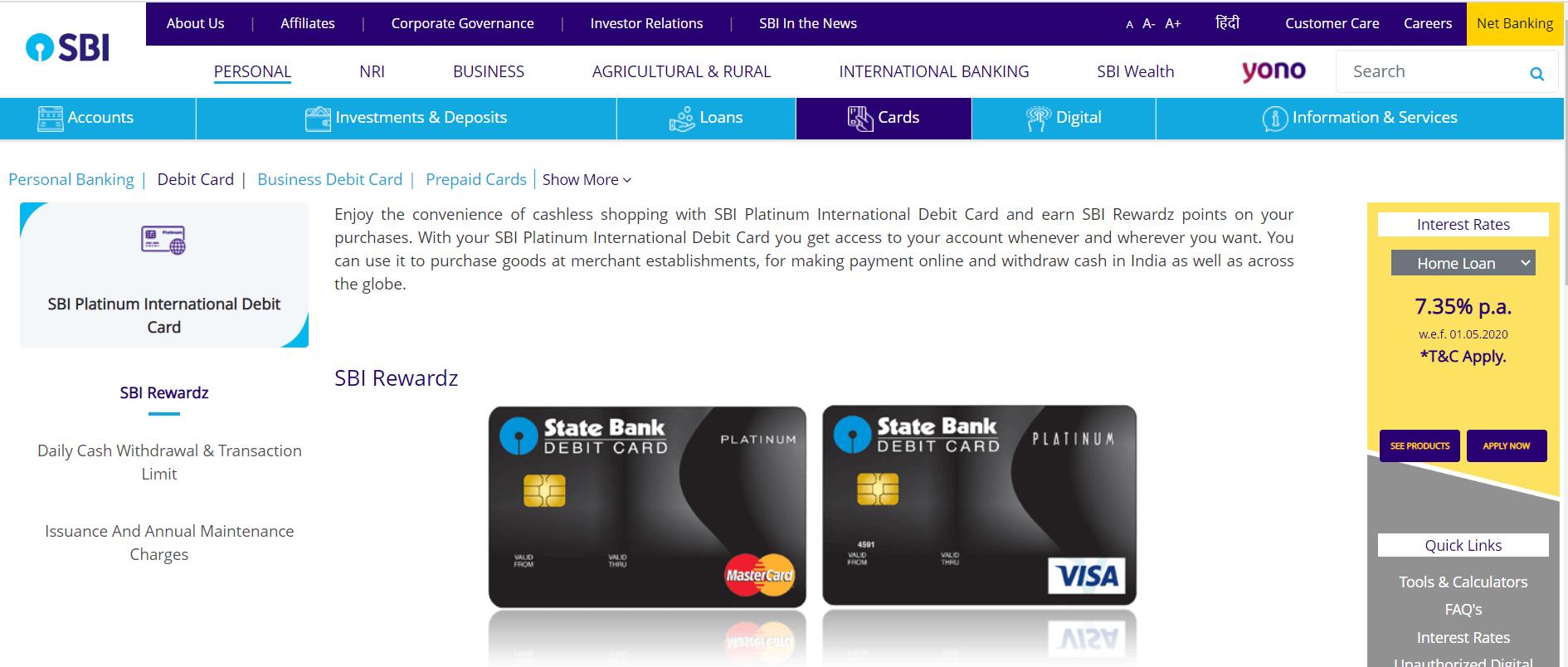 SBI Platinum International Debit Card