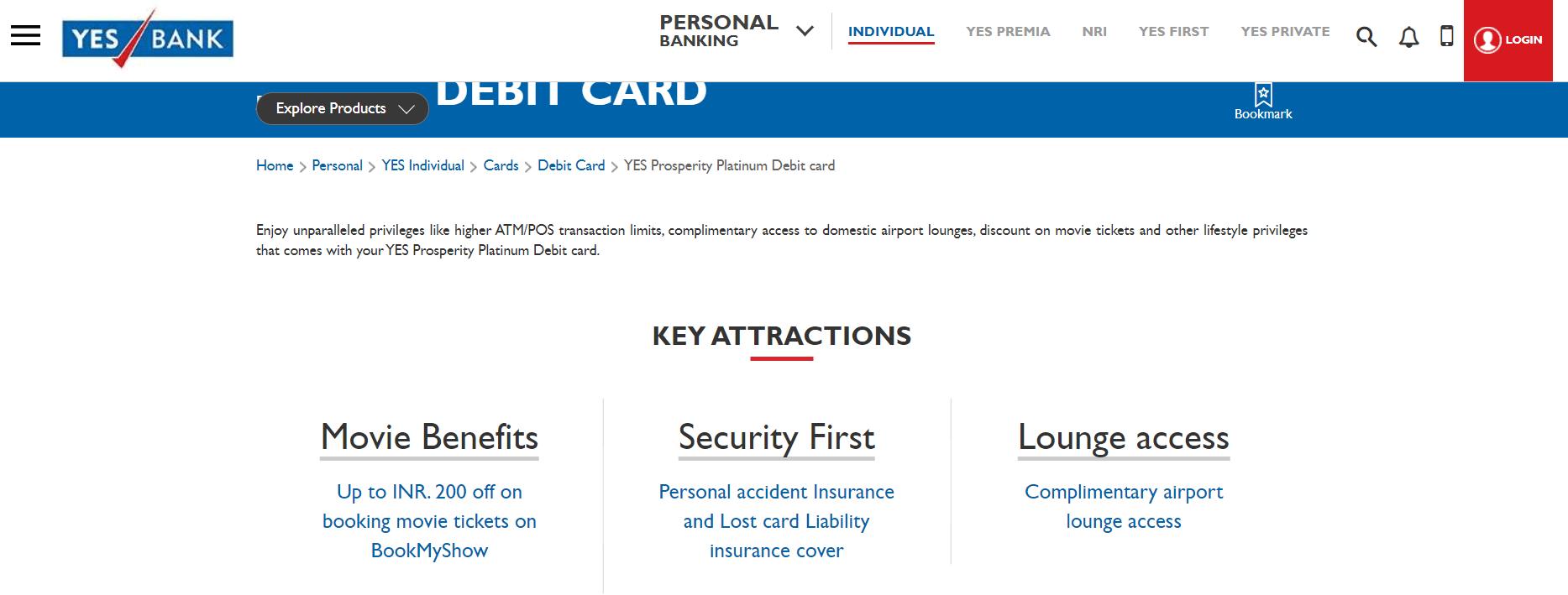 Yes Bank Prosperity Platinum Debit Card