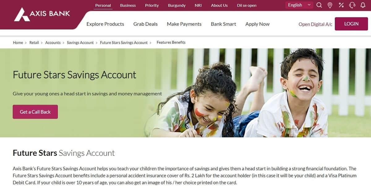 Future Stars Savings Account by Axis Bank | Savings Bank Accounts For Children