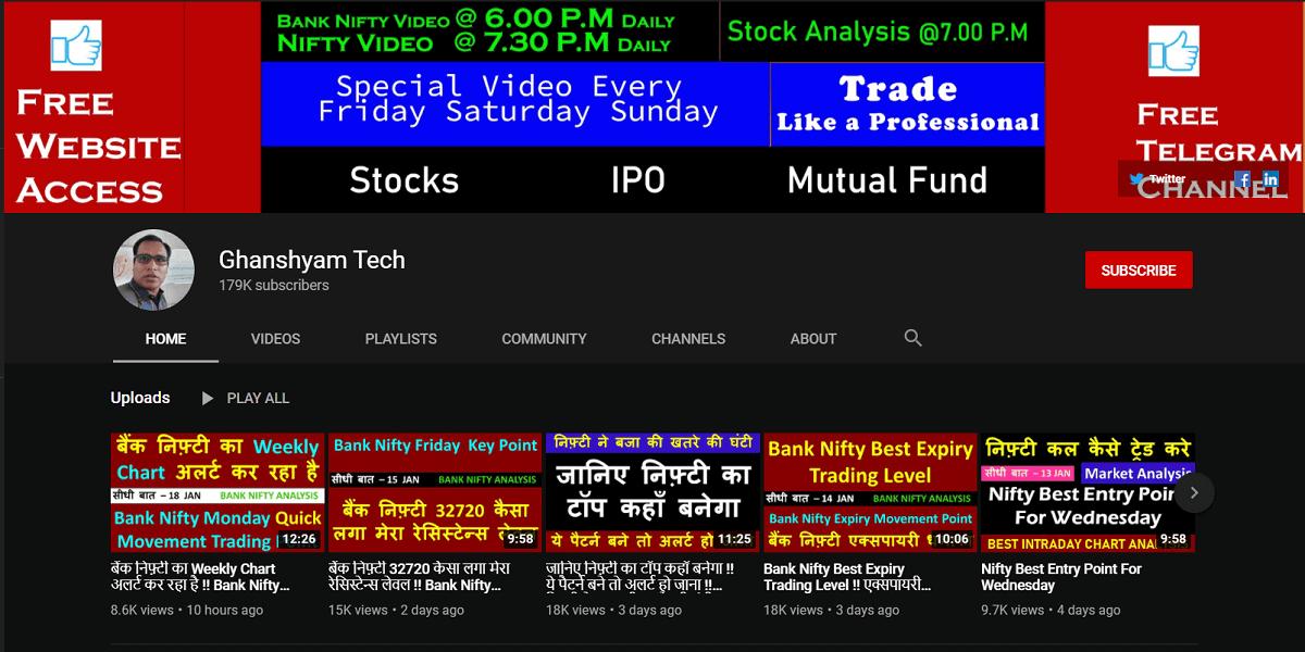 Ghanshyam tech | Best YouTube Channels for Indian Stock Market