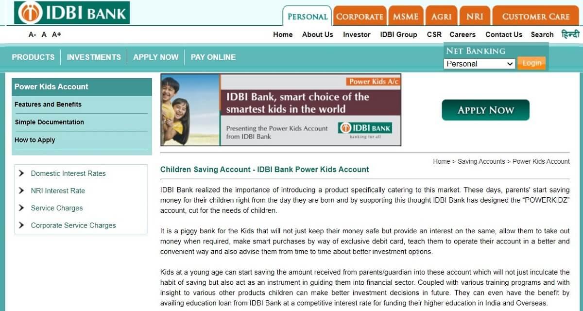 Power Kids account by IDBI Bank