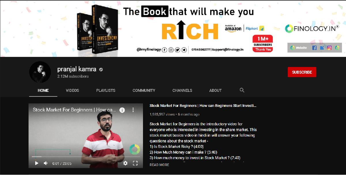 Pranjal kamra | Best YouTube Channels for Indian Stock Market
